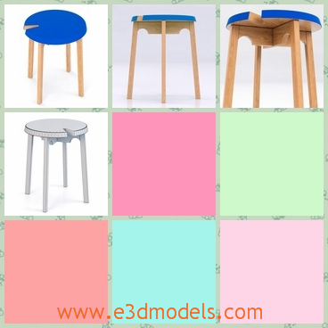 3d model a stool with a blue cover - This is a 3d model of the stool ,which is covered with the blue color.The model is created by a modern concept.