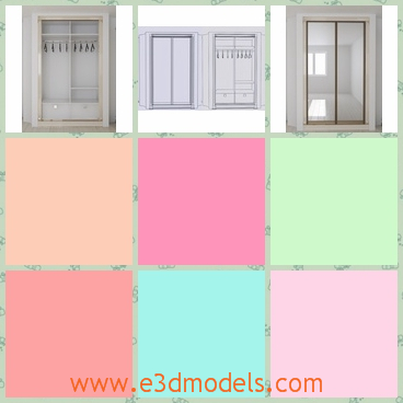 3d model a wardrobe in white - This is a 3d model of a wardrobe,which has two doors with it.The wardrobe is made in glass materials.