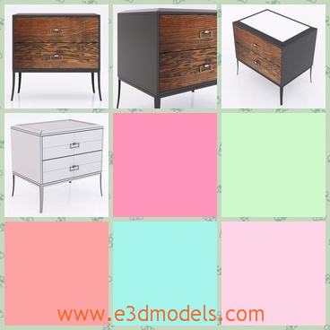 3d model a wooden chest with two drawers - This is a 3d model of a wooden chest with two drawers,which is always placed on the bedside and the top of the chest can be used as a table.