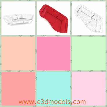 3d model an irregular red sofa - This is a 3d model of an irregular sofa in red,which can be used as a bed to sleep.The model can also be separated into two small sofas in the middle.