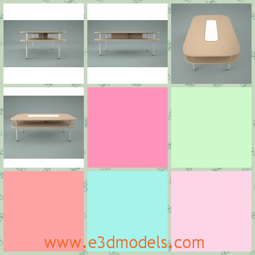 3d model conference table - This is a 3d model about a conference table in the office,which is made of wood.The shape is round and the second floor below is useful.