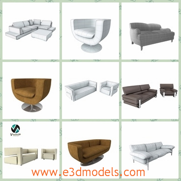 3d model different sofas - This is a 3d model of the different sofas,which are comfortabel and modern in the house.
