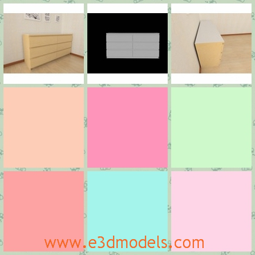 3d model drawers in the corner - This is 3d model of the drawers in the corner of the room,which is long ans spacious.The model is fit to the color of the room.
