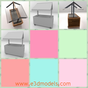 3d model food service cart - This is a 3d model of a food service cart,which is so convenient for people to take food from it.And the dispaly of food in it also very clean and healthful.