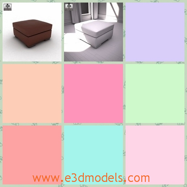 3d model footstool with storage - This is a 3d model of footstool with storage,which is soft in the surface and the storage under it is for the magazines and toys.