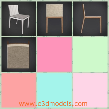 3d model jesse alma - This is a 3d model of a Jesse Alma,a chair with a back,which is made of wood and the inferior feet of it is slant.
