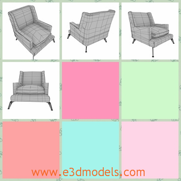 3d model of a big chair - There is a 3d model which is about a big chair. On this chair we can see black square patterns and thick cushions and its legs are short and thin.