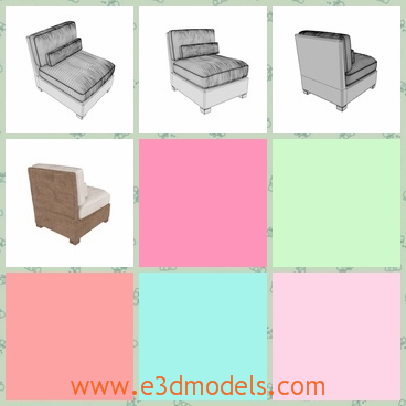 3d model of a chair - This is a 3d model of a chair. This chair is very big and heavy and it has thick cushions on back and top which make it comfortable to sit on it.