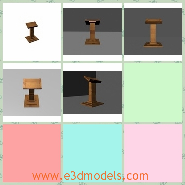 3d model of a lectern - This 3d model is about a wooden lectern which has a simple book pedestal and a heavy base. The whole stand makes it very steady and it is avaiable for anyone who is looking for a simple object for a scene or render.
