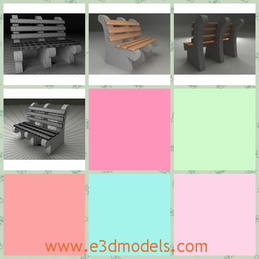 3d model of a park bench - This 3d model is about a park bench which is made of cement and planks. The planks are brown and they are very smooth.