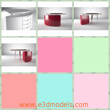 3d model of a reception desk - This 3d model is about a custom designed director office table modeled by exact measurements.The table is very big and has shiny red surfaces.