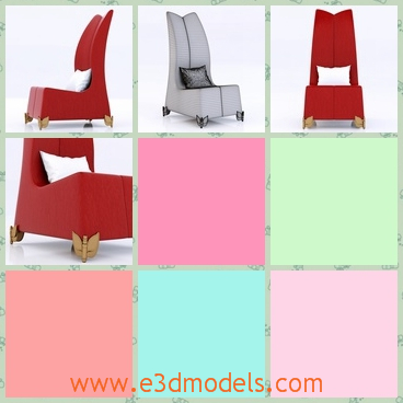 3d model of a red chair - This 3d model is about a jumbo chair which has warm red color and is covered with fine leather. Its back is very long and gives it an elegant air.