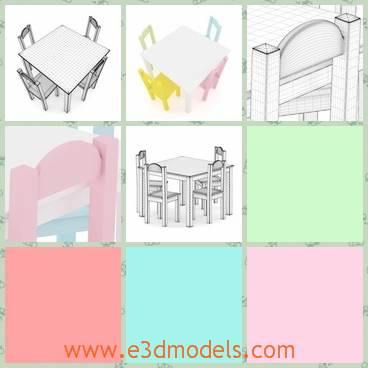 3d model of a table and chairs - This 3d model is about a small table and four chairs for little kids. The table and chairs have pleasant colors and they are very cute.