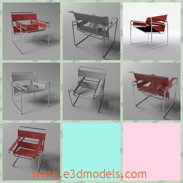 3d model of a Wassily chair - This is a 3d model which is about a Wassily chair. This chair is very light and it is very simple and comfortable.