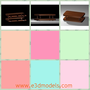 3d model of a wooden table - This is a 3d model of a wooden table which has a rectangular shape. This table has two layers and you can put coffee cups and cocktail wines on it.