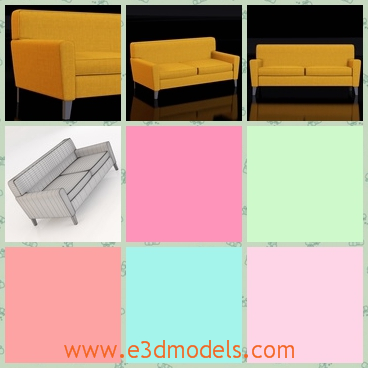 3d model of Condo studio sofa - This 3d model is about a Condo studio sofa which is a thick yellow sofa. Two people can sit on it comfortablely.