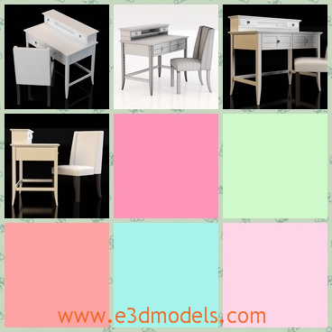 3d model of desk and chair - This 3d model is about a desk and a chair. This desk and chair are white and made of wood. Both of them have thin legs.