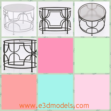 3d model of edged rhombus table - This 3d model is about a moderrn rhombus table designed by Cyan. Tt is a big round table and it has a complex stand to support it.