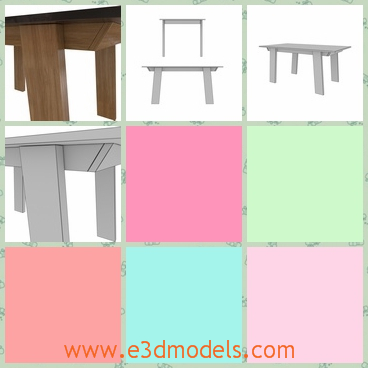 3d model of Jesse-victor table - This 3d model is about a wooden table which is made of fine thick wood and it has a simple yet exquisite structure. The legs of the table are thick planks.