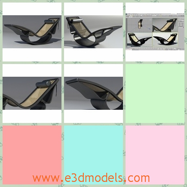 3d model of Rio chaise longue - Here are some 3d models about the Rio chaise longue which has black and white colors. This model is ideal for rendering interior and exterior design.