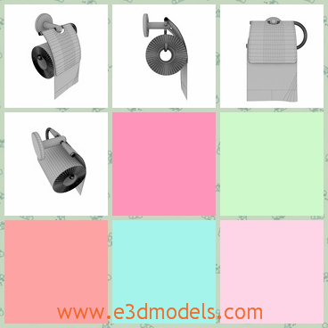 3d model of toilet paper holder - There is a 3d model which is about a toilet paper holder. This toilet paper holder is a hollow cylinder made of metal and you can put the paper on it.