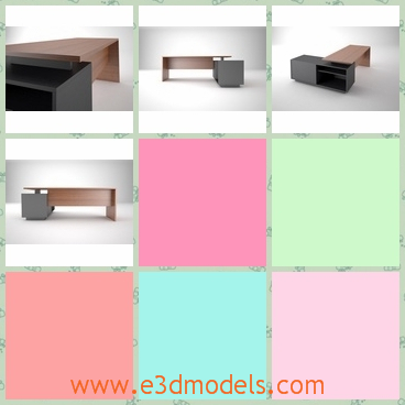 3d model office desk - This is a 3d model about the modern office desk.This desk is made of wood and modeled by exact measurements of the actua product.