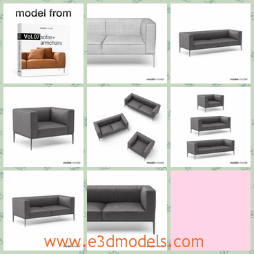 3d model sofa in the living room - This is a 3d model of the sofa in the living room,which is modern and popular in the family.