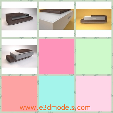 3d model table domino - This is a 3d model about a Table Domino with three stories altogether.The model sits to put at home and the white and the brown color suited for each other.