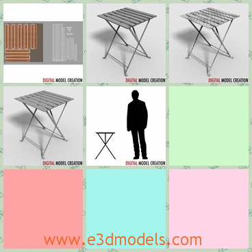 3d model te table outdoor - This is a 3d model of the small table,which is intended as a lawn furniture.It will suit scenes on balconies, lawns, bistros and cafes.