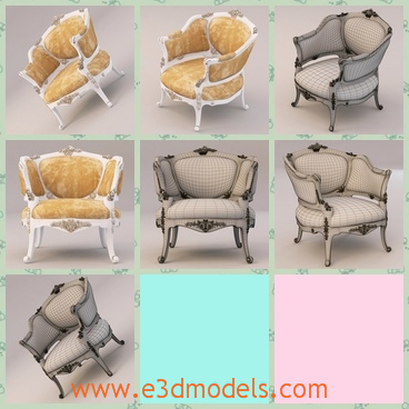 3d model the antique armchair - This is a 3d model of the antique armchair,which is in high quality and the chair is comfortable.