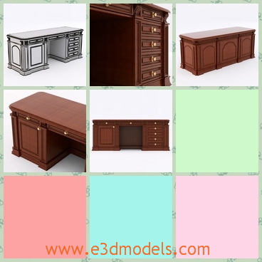 3d model the antique desk with drawers - This is a 3d model of the antique desk with drawers,which is tall and made in ancient style.The model has special textures on it.