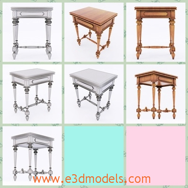 3d model the antique table in wood - This is a 3d model of the antique table in wood,which is made in the old shape and the wooden table is fine to see.