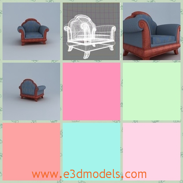 3d model the armchair in blue and brown - This is a 3d model of an armchair in blue and brown,which is small but in a fine and exquisite shape.