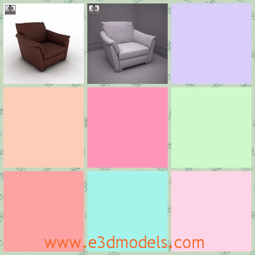 3d model the armchair in brown - This is a 3d model about the armchair in brown,which is soft and comfortable.The modelis made in ance with the proportions and sizes of real furniture.