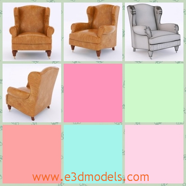 3d model the armchair in outdated style - This is a 3d model of the armchair in the outdated style and the legs are short and solid.