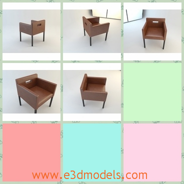 3d model the armchair in the office - This is a 3d model of the armchair in the office,which is made in leather materials.The chair is square and the legs are thin.