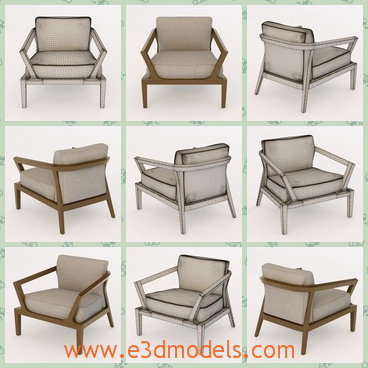 3d model the armchair with cushions - This is a 3d model of tha armchair with cushions,which is made in the detailed textures.The model is modern and fine.