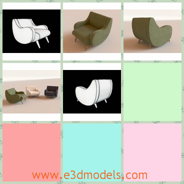 3d model the armchair with thin legs - This is a 3d model of the armchair with thin legs,which is made of leather materials.The model is heavy to carry to other places.