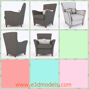 3d model the armchair with wooden legs - This is a 3d model of the armchair with wooden legs.The model is an old type and it is presented in the elders' homes nowadays.