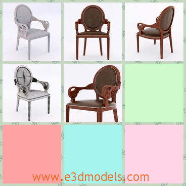 3d model the arnchair with a round back - This is a 3d model of the armchair with a round back,which is made in wood and the chair has fine ornament on the arms.