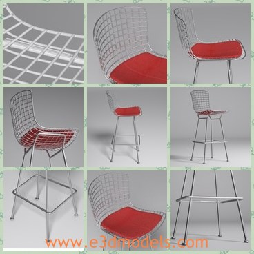 3d model the barstool - Thi is a 3d model of the barstool,which is tall and stable.The legs of the chair is made of steel material.