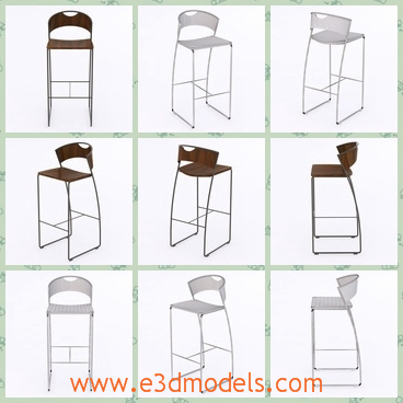 3d model the barstool with queer legs - This is a 3d model of the barstool with queer legs,which is tall and solid to sit on.The stool is hold by severl thin steel.
