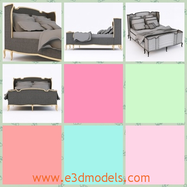 3d model the bed decorated with gray ornaments - This is a 3d model of the bed decorated with gray ornaments,which is large and spacious.The model has a comfortable back.