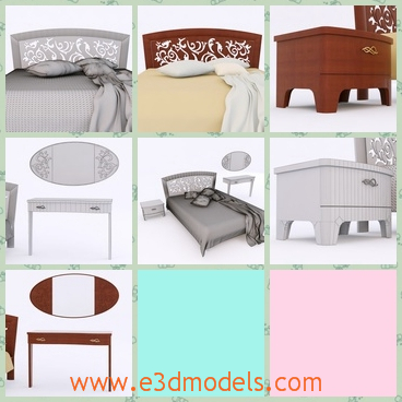 3d model the bed in modern style - This is a 3d model of the bed in modern stylw,which is in the finest style and the furniture is long and spacious.