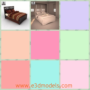 3d model the bed in the room - This is a 3d model of the bed in the room,which is made in wood and the bed is modern and common.