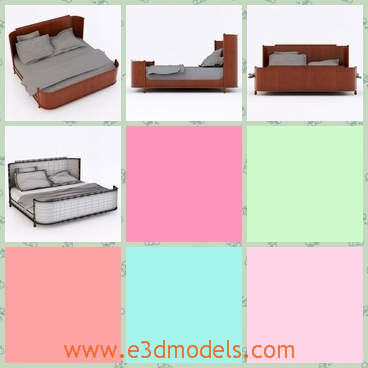 3d model the bed in wood - This is a 3d model of the bed,which is made of wood and there are three pillows on the bed.The end of the bed is surrounded by a piece of wood.