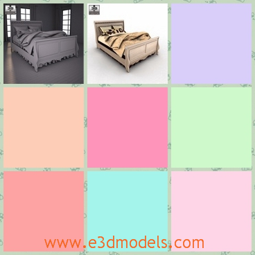 3d model the bed with fine bedding - This is a 3d model of the bed with fine bedding,which is maevellous and glorious.The bed is made in great textures.