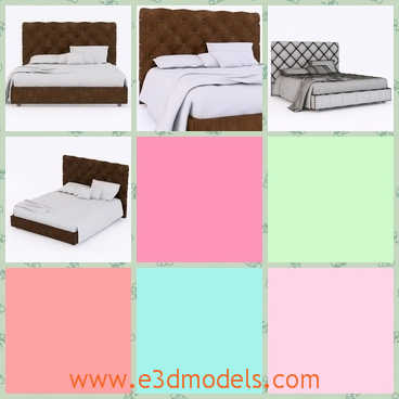 3d model the bed with mattress - This is a 3d model of the bed with mattress,which has the pillows on it.THe model is big and model is made in modern style.