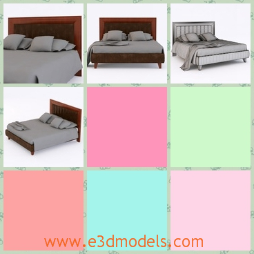 3d model the bed with pillows - This is a 3d model of the bed with pillows,which are placed casually on the bed and the model is made of wood.