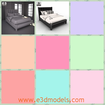 3d model the bed with two pillows - This is a 3d model of the bed with two pillows,which is designed in the most modern style.